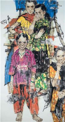 尼泊尔风情(乡村少女)180x96cm